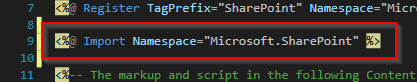 deklaracja przestrzeni nazw SharePoint