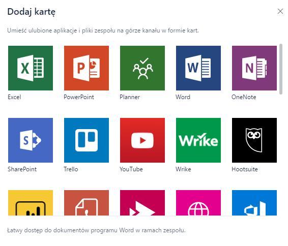 Microsoft Teams dodaj kartę