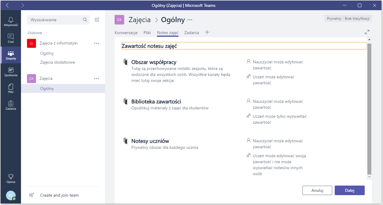 Microsoft Teams notes