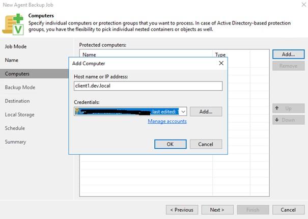 Veeam Backup & Replication dodawanie komputerów do zadania