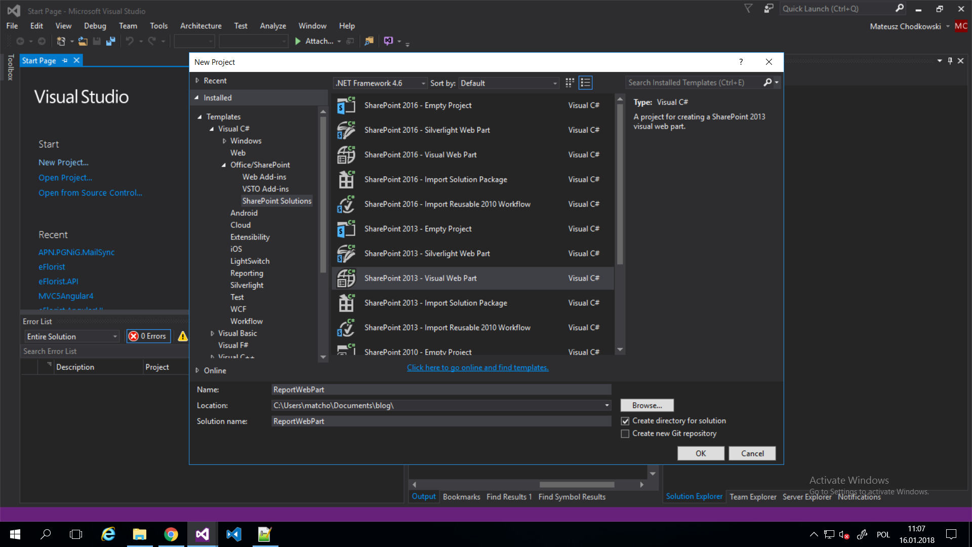 WebPart w Visual Studio