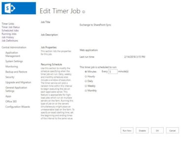 Synchronizacja Exchange do SharePoint Edit Timer Job