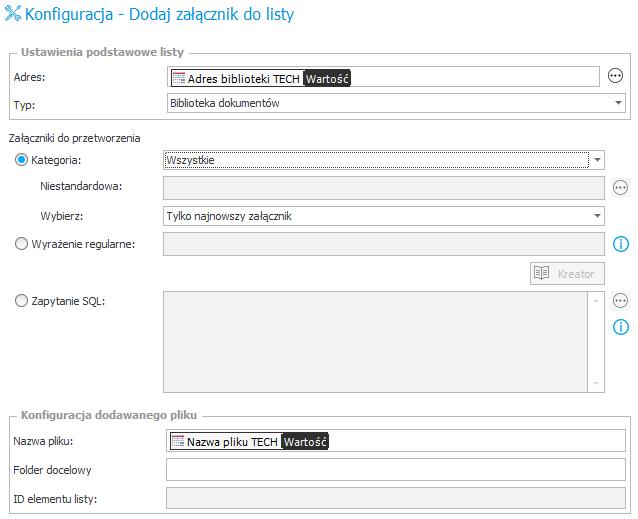 konfiguracja - dodawanie załącznika do listy