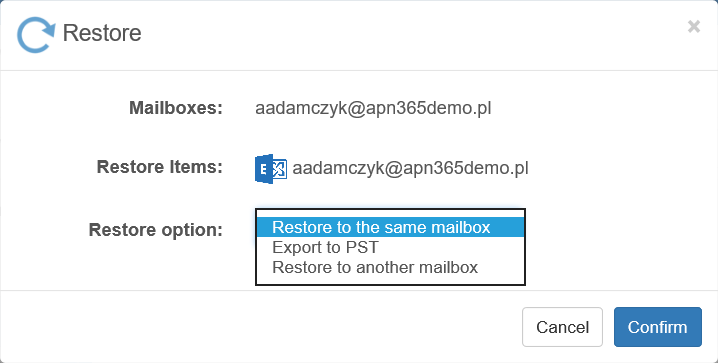 Restore to the same mailbox