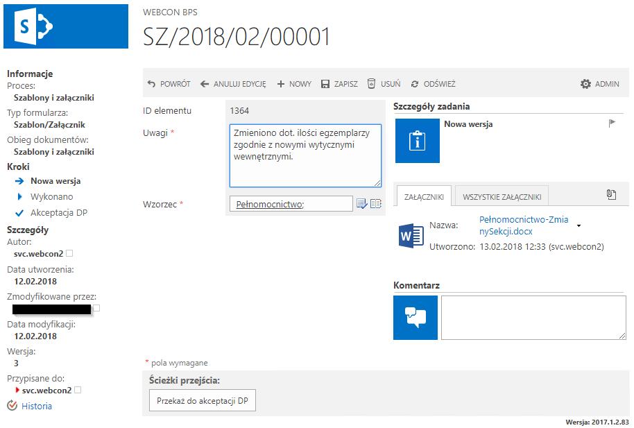 Webcon BPS ilości egzemplarzy
