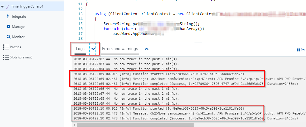 logs errors and warnings