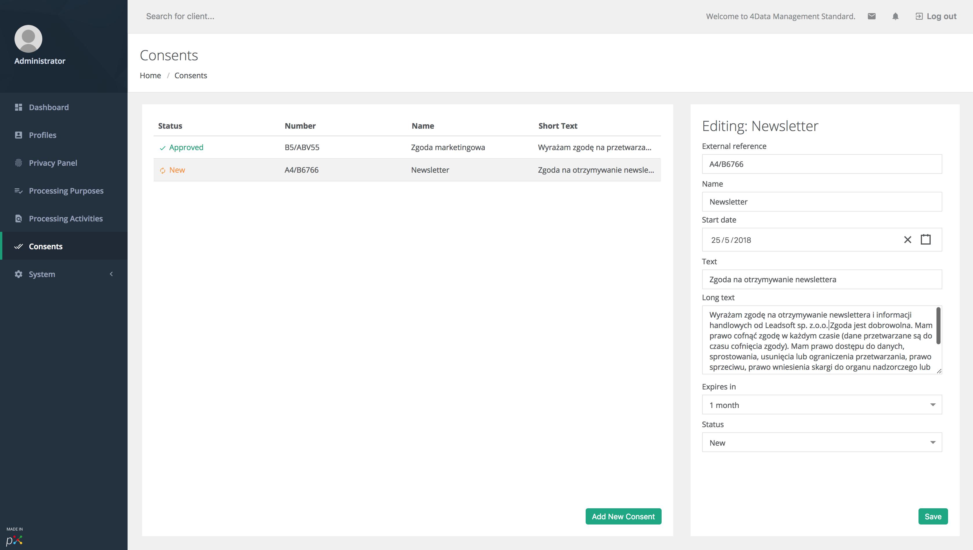 zarządzanie zgodami na przetwarzanie danych osobowych 4Data Management