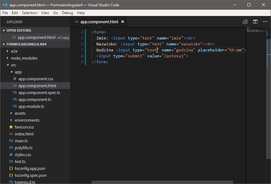 Kod HTML formularza