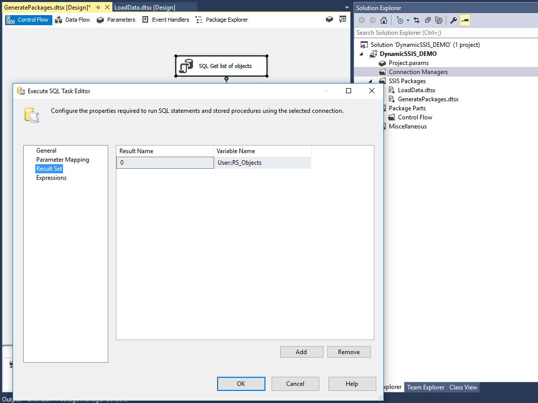 Execute SQL Task Editor