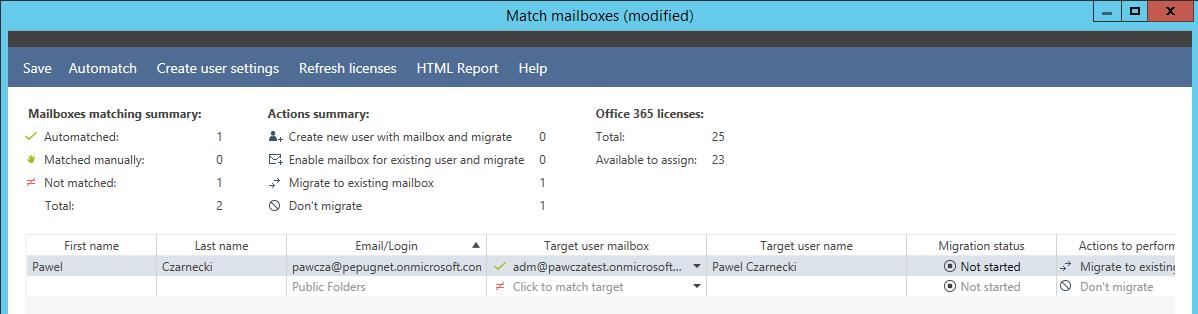 dopasowanie skrzynek podczas migracji poczty Office 365