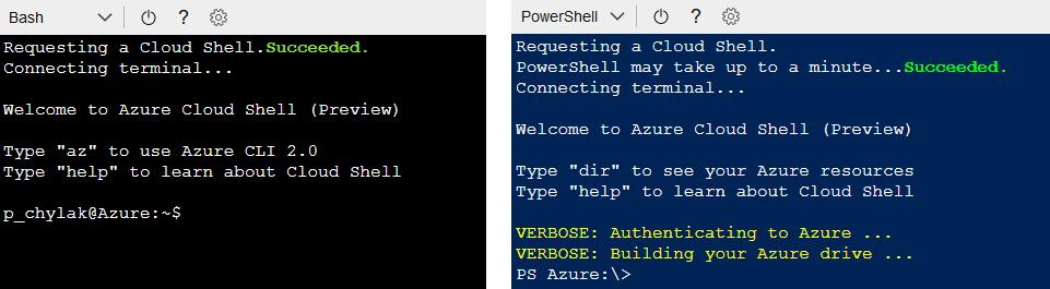 zarządzanie Azure skryptami i komendami Bash/PowerShell
