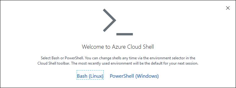 Azure CloudShell wybór narzędzia