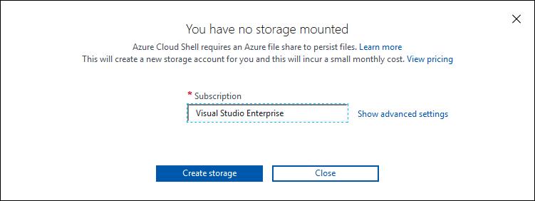 Azure CloudShell utworzenie konta przechowywania danych