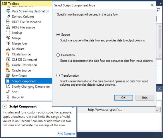 Select Script Component