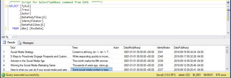 sprawdzenie danych w tabeli docelowej
