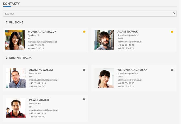 APN Intranet SharePoint - Kontakty