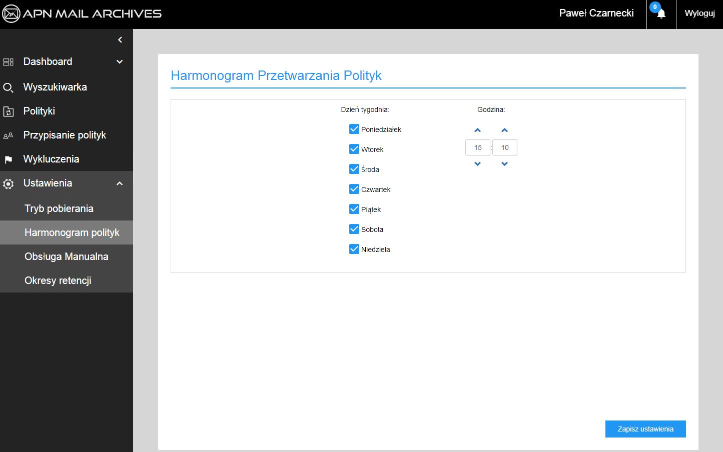 Harmonogram archiwizacji