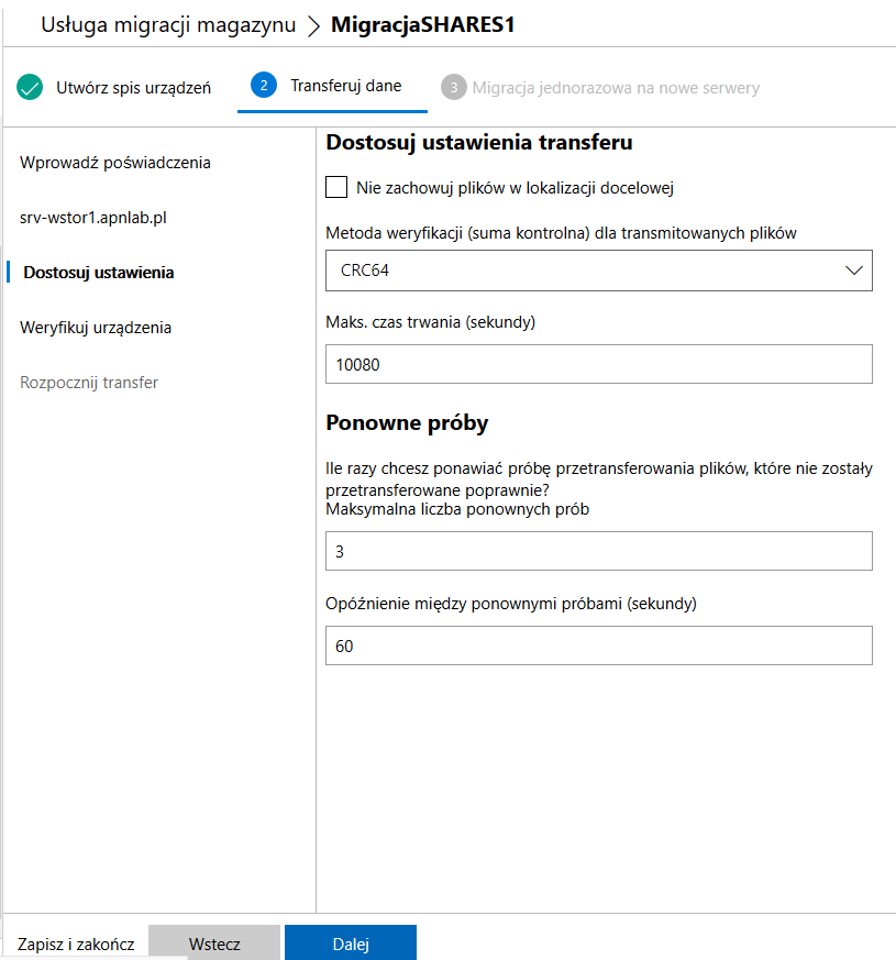Windows Admin Center dostosowanie ustawień transferu