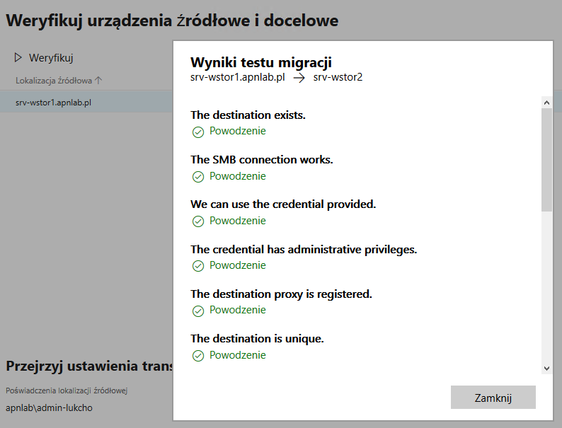 Windows Admin Center wynik testu migracji