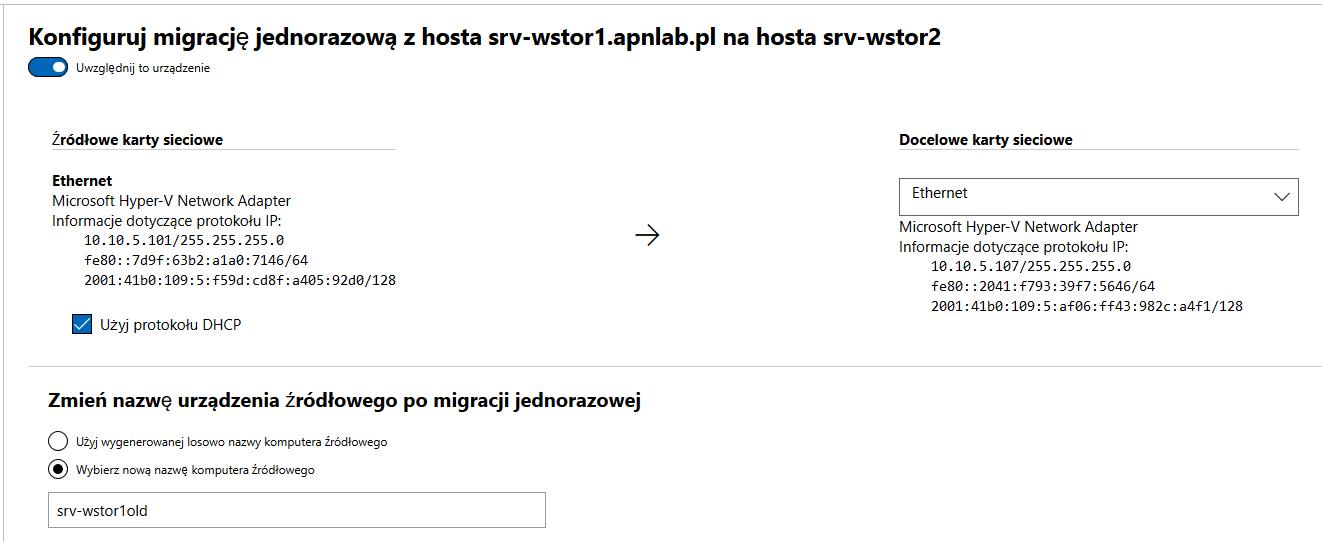 Windows Admin Center ustalanie serwerów po migracji