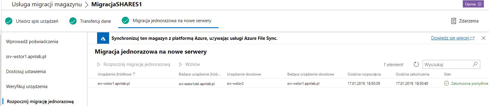 Windows Admin Center zakończenie migracji jednorazowej