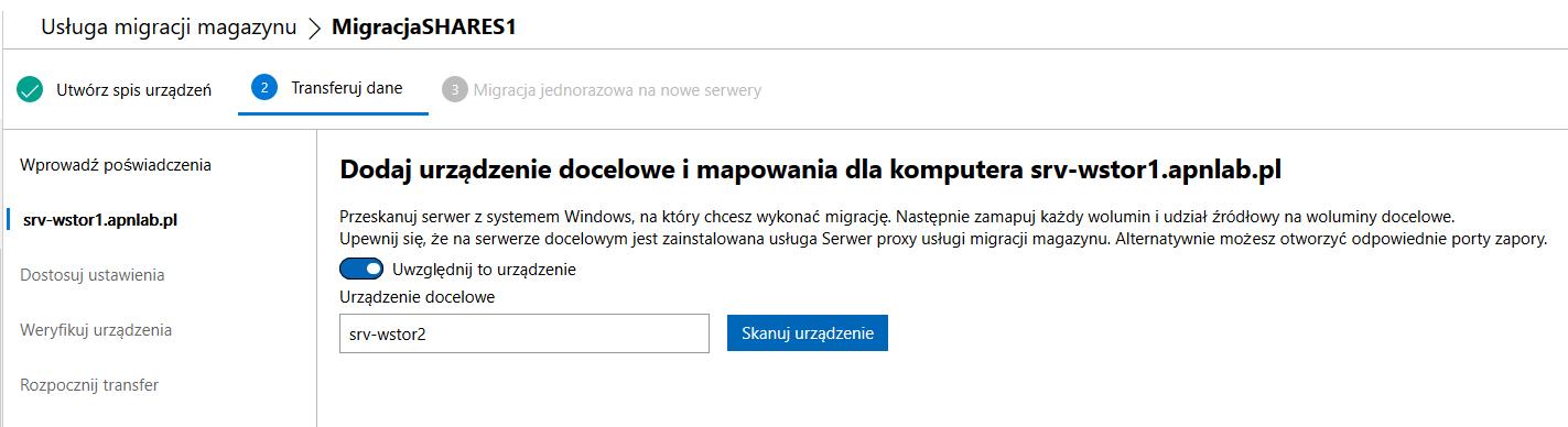 Windows Admin Center dodawanie urządzeń docelowych