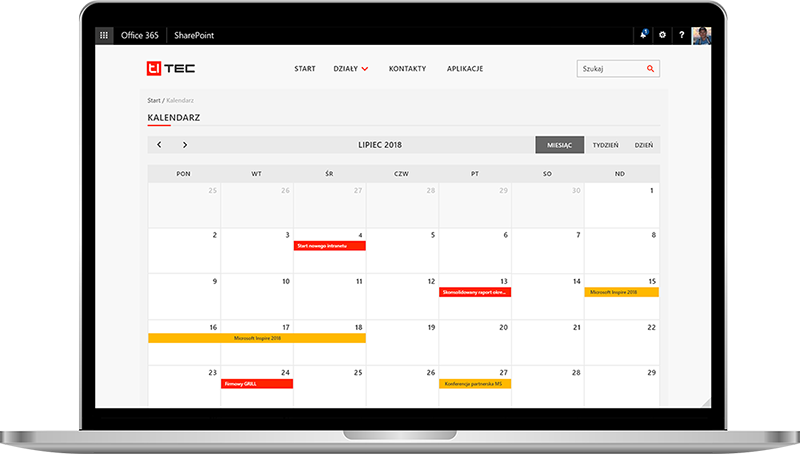 wdrożenia intranet kalendarz i wydarzenia