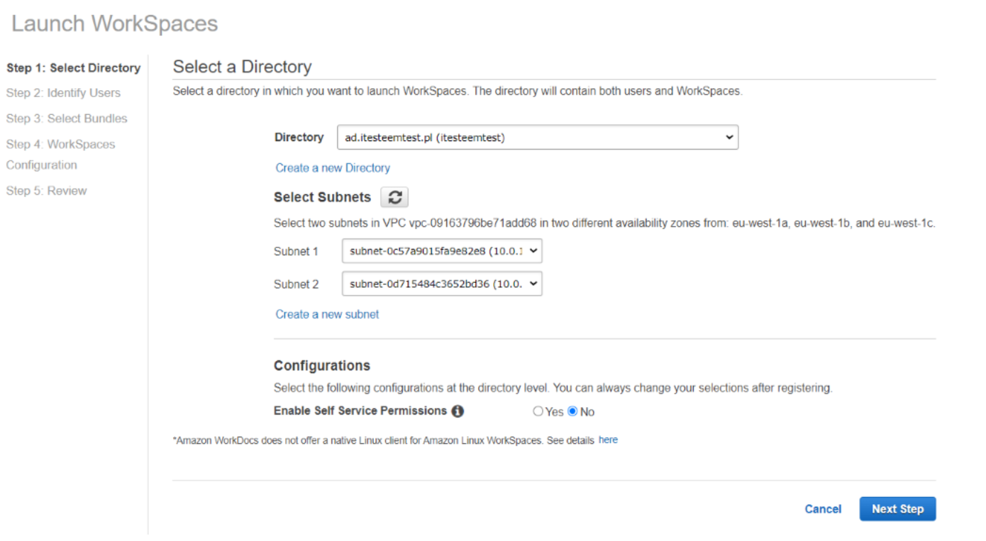 Launch WorkSpaces Select Directory 6