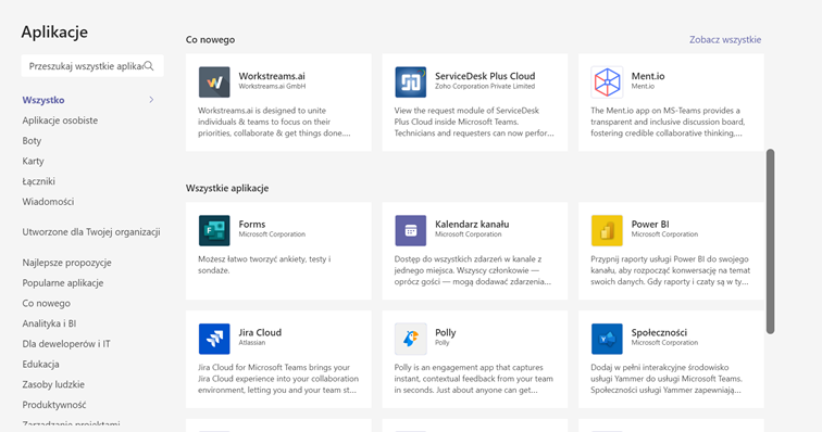 Microsoft Teams - okno dostępnych aplikacji