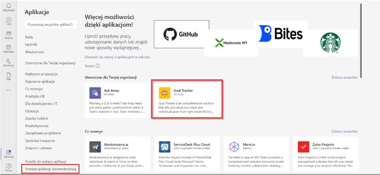 Microsoft Teams przekazanie aplikacji