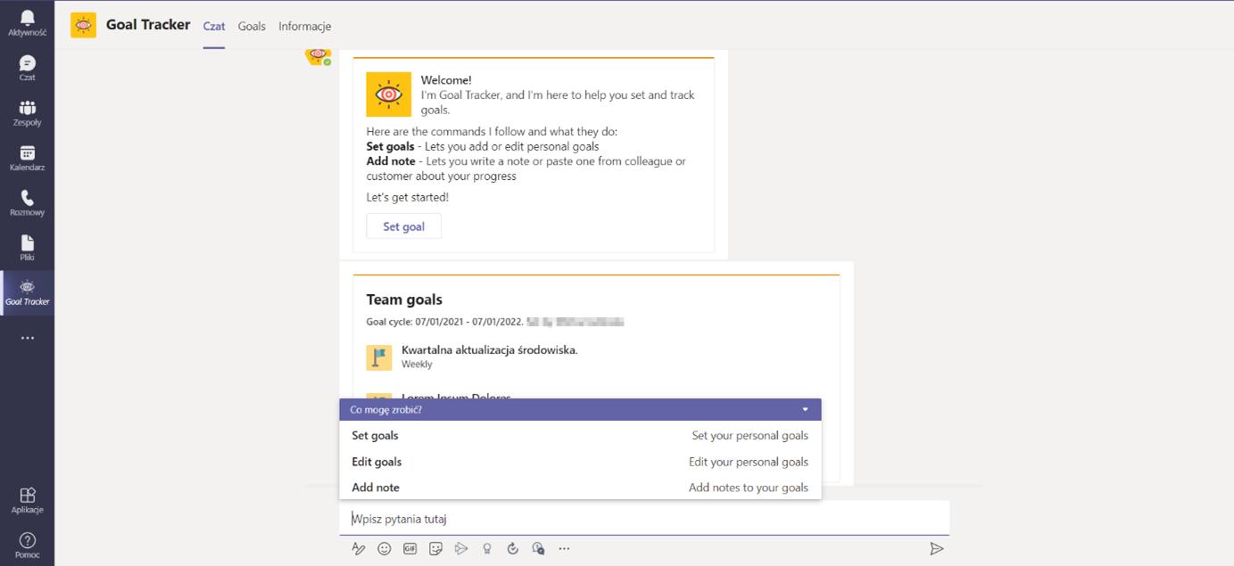aplikacja wdrożona z szablonu Microsoft Teams