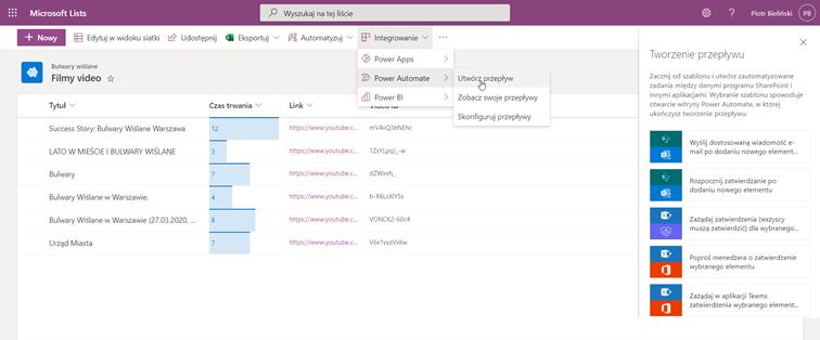 tworzenie przepływu w Microsoft Lists